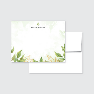 Floral Greenery Watercolor Personalized Stationery Set of 24