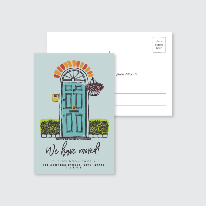 We Have Moved Front Door Post Card  (Set of 50)