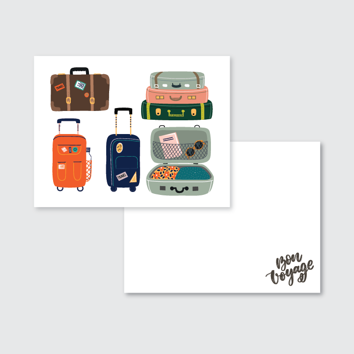 Vintage Suitcase Travel Stationery Set of 24