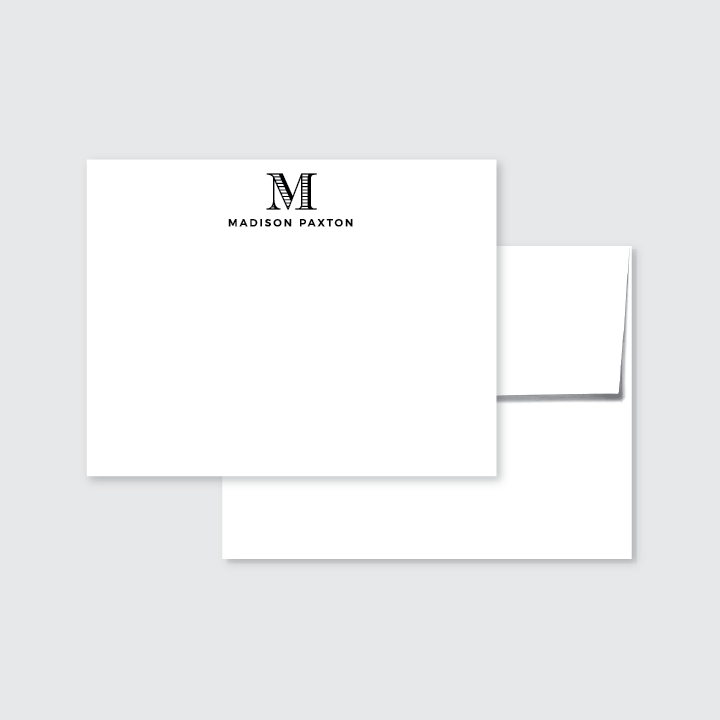 Classic Monogram Simple Personalized Stationery Set of 24