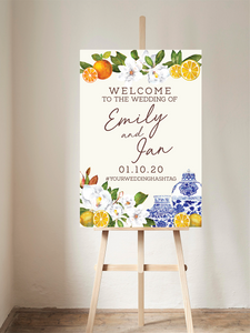 Chinoiserie, Citrus + Greenery Welcome Sign