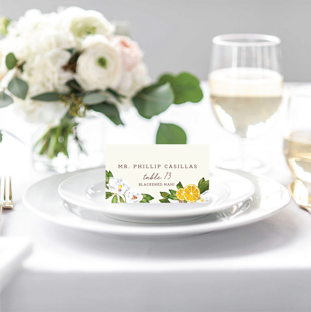 Chinoiserie, Citrus + Greenery Place Cards