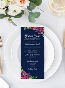 Navy Floral Menu/Program