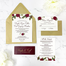 Load image into Gallery viewer, Burgundy Floral Wedding Invitation Suite