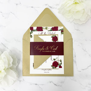 Burgundy Floral Wedding Invitation Suite