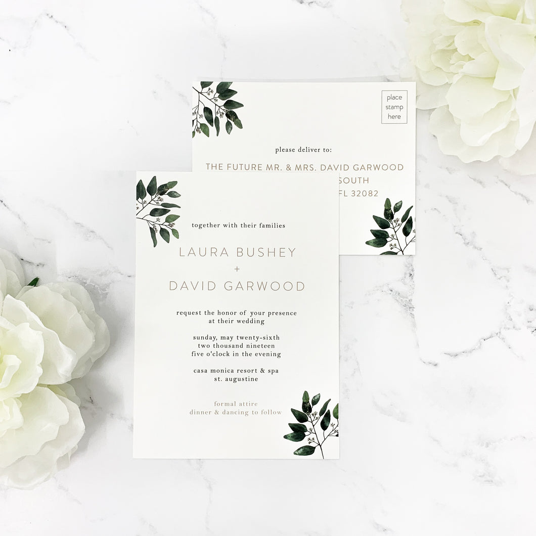 Modern Eucalyptus Wedding Invitation Suite