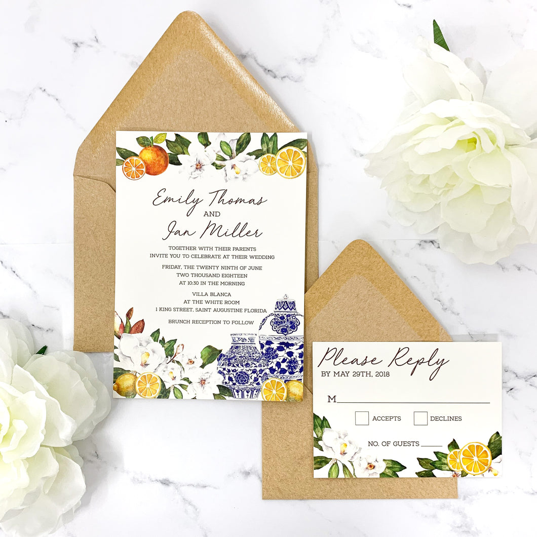 Chinoiserie, Citrus + Greenery Wedding Invitation Suite