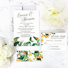 Load image into Gallery viewer, Tropical Watercolor Floral Wedding Invitation Suite