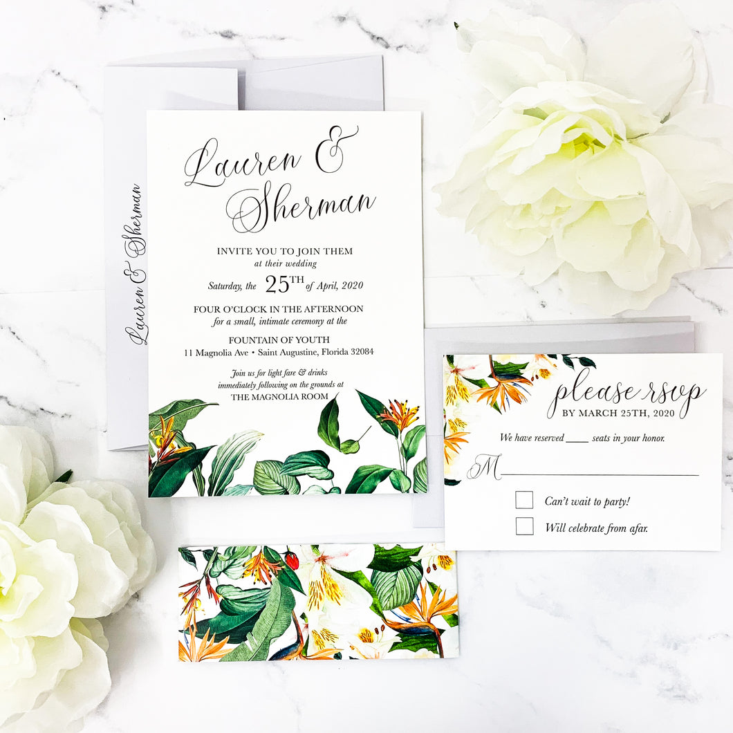 Tropical Watercolor Floral Wedding Invitation Suite