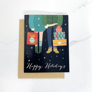 Happy Holidays Shopping Couple - Christmas Card