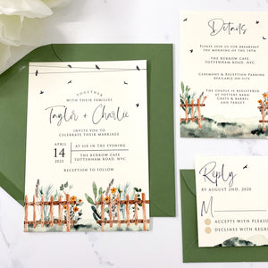 Country Fence Wedding Invitation Suite