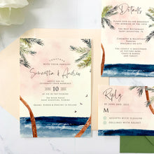 Load image into Gallery viewer, Palm Breeze Wedding Invitation Suite