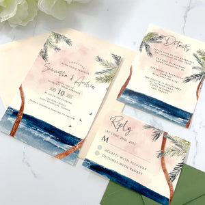 Palm Breeze Wedding Invitation Suite