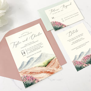 Mountain + Wilflowers Wedding Invitation Suite
