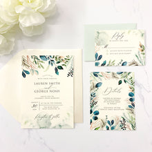 Load image into Gallery viewer, Greenery Watercolor Wedding Invitation Suite