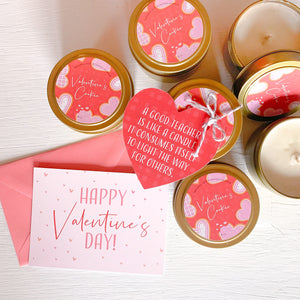 Teacher Valentine Gift - Candle & Card