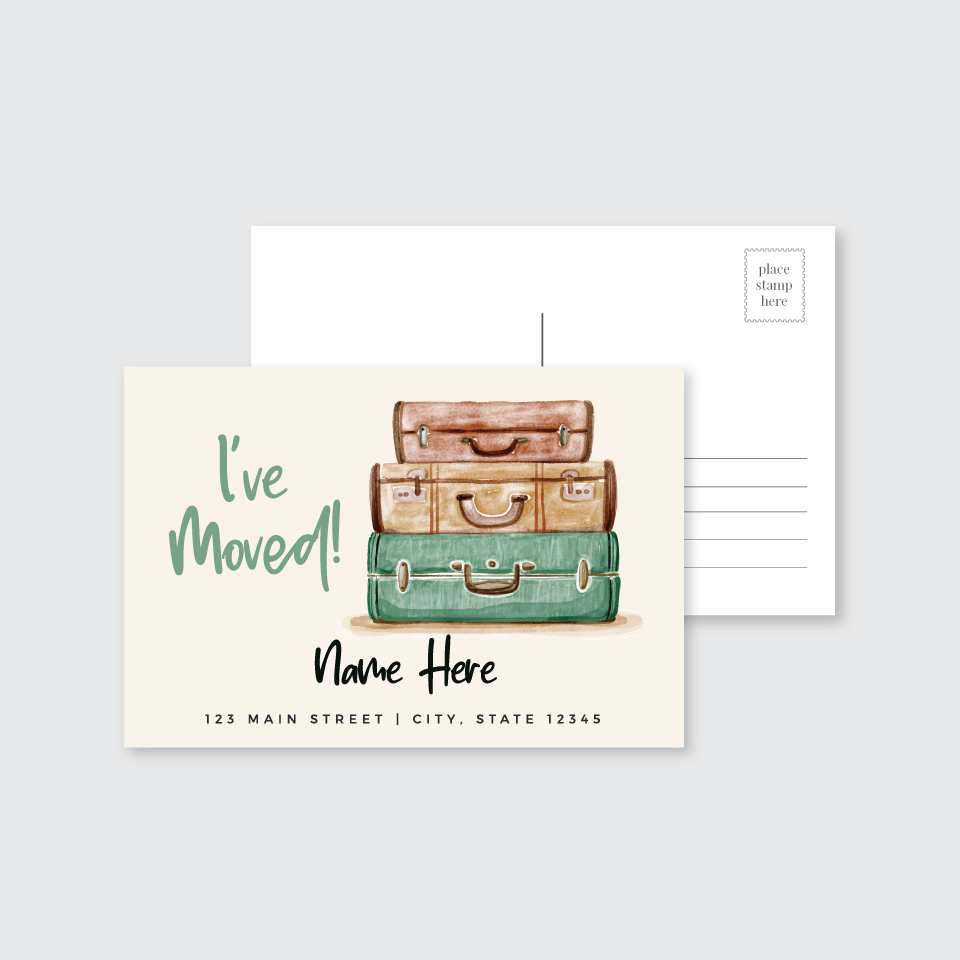 I've Moved Vintage Suitcase Post Card (Set of 50)