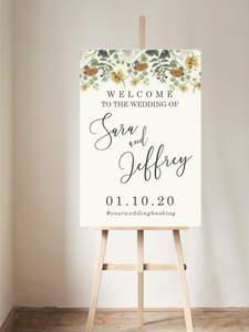 Vintage Floral Welcome Sign