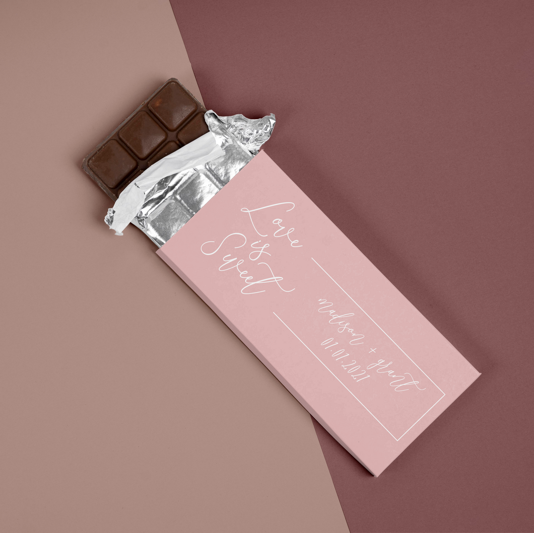 Chocolate Bar Wrapper Wedding or Bridal Shower Favor - Love is Sweet Pink