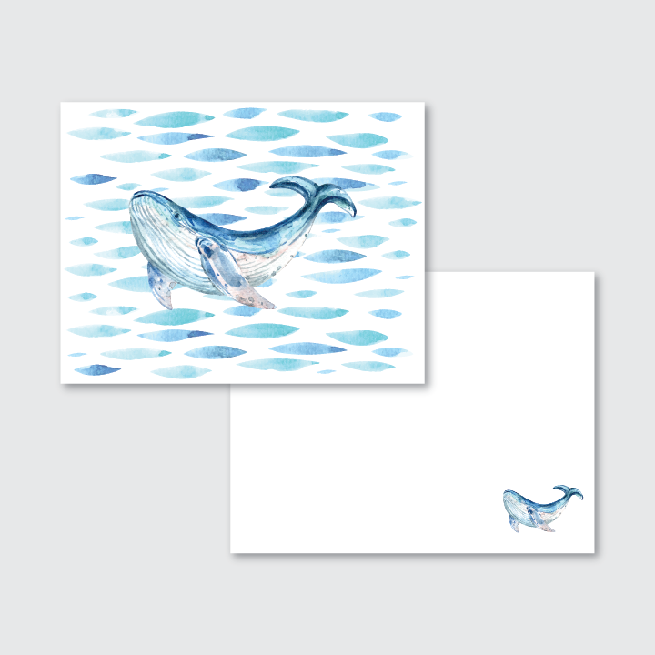 Watercolor Whale Stationery Set of 24