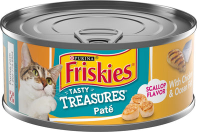 Friskies Tasty Treasures Pate Chicken, Ocean Fish & Scallop Canned Cat Food