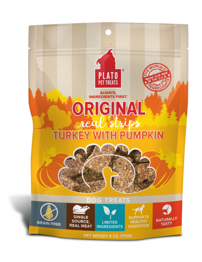Plato Grain Free Real Strips Turkey With Pumpkin Dog Treats