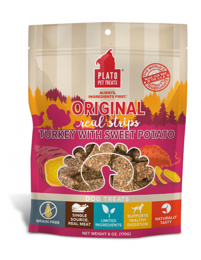 Plato Grain Free Real Strips Turkey With Sweet Potato Dog Treats