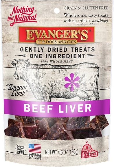 Evanger's Raw Freeze Dried Grain Free Beef Liver Dog and Cat Treats