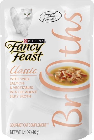 Fancy Feast Classic Broths with Wild Salmon & Vegetables Supplemental Cat Food Pouches