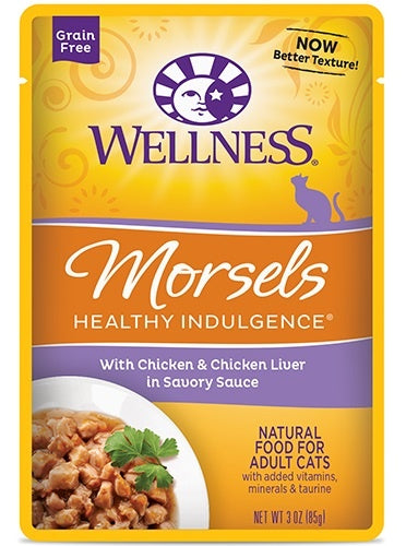 Wellness Healthy Indulgence Natural Grain Free Morsels with Chicken and Chicken Liver in Savory Sauce Cat Food Pouch