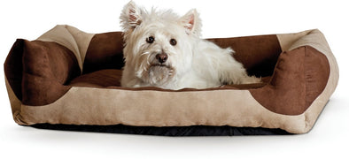 K&H Pet Products Classy Lounger Tan & Chocolate Pet Bed