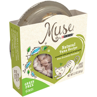 Purina Muse Natural Adult Grain Free Tuna Recipe with Spinach in Fish Broth Cat Food Trays
