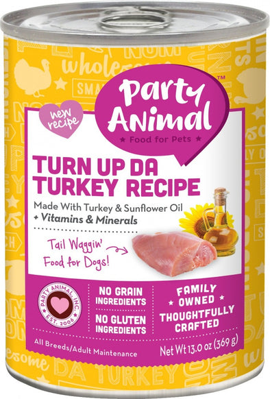 Party Animal Grain Free Turn Up Da Turkey Canned Dog Food