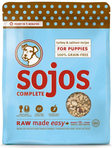 Sojos Natural Grain Free Turkey and Salmon Recipe Raw Freeze Dried Puppy Food Mix
