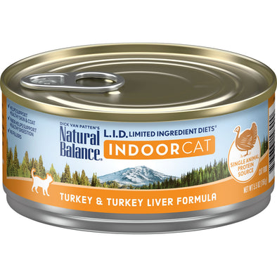Natural Balance L.I.D. Limited Ingredient Diets Turkey & Turkey Liver Indoor Canned Cat Food