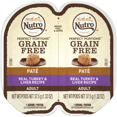 Nutro Perfect Portions Adult Grain Free Turkey & Liver Pate Wet Cat Food Trays