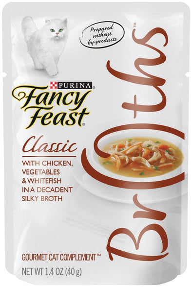 Fancy Feast Broths Classic Chicken, Vegetables & Whitefish Supplemental Cat Food Pouches