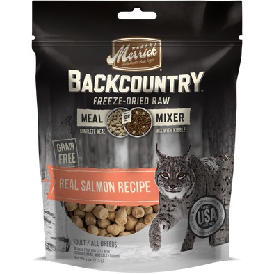 Merrick Backcountry Freeze Dried Grain Free Real Salmon Recipe Meal Mixer for Cats
