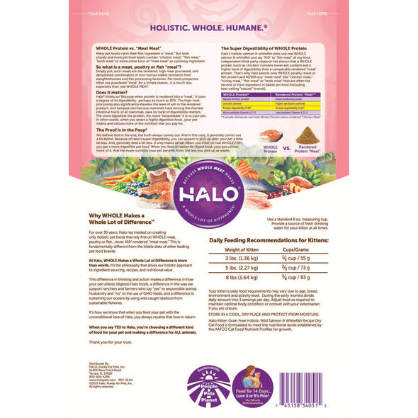 Halo Holistic Grain Free Wild Salmon & Whitefish Recipe Kitten Dry Cat Food