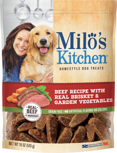 Milo's Kitchen Grain Free Beef Recipe with Brisket & Garden Vegetables Soft and Chewy Dog Treats