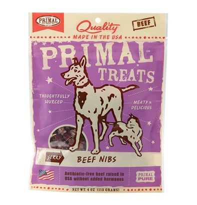 Primal Grain Free Jerky Beef Nibs Dog and Cat Treats