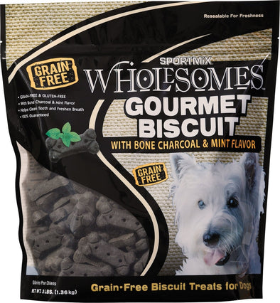 SPORTMiX Wholesomes Gourmet Biscuits with Charcoal & Mint Flavor Grain Free Dog Treats