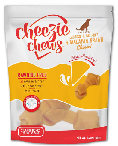Cheezie Chews Rawhide Free Large Knotted Cheese Bone Dog Treats
