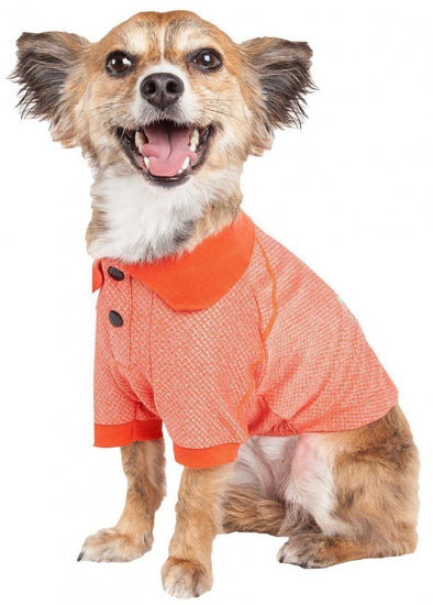 Pet Life Active Relax Stretch Fur Flexed Orange Polo Dog T-Shirt