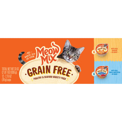 Meow Mix Grain Free Poultry & Seafood Variety Pack with Real Chicken, Tuna, & Whitefish in Sauce Wet Cat Food