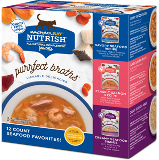 Rachael Ray Nutrish Purrfect Broths Seafood Favorites Wet Cat Food Topper Variety Pack