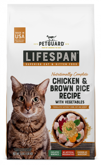 PetGuard LifeSpan Chicken, Brown Rice Recipe with Vegetables Superior Cat & Kitten Dry Food