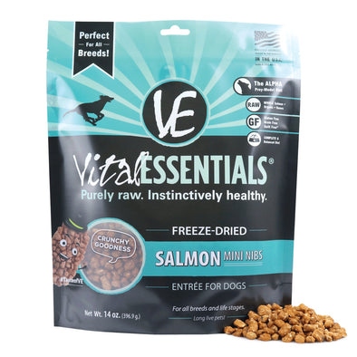 Vital Essentials Freeze Dried Grain Free Salmon Mini Nibs Entree for Dogs Food