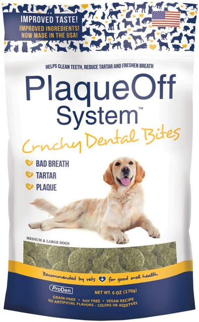 Proden PlaqueOff Dental Bites Crunchy Dog Treats for Medium & Large Breed Dogs