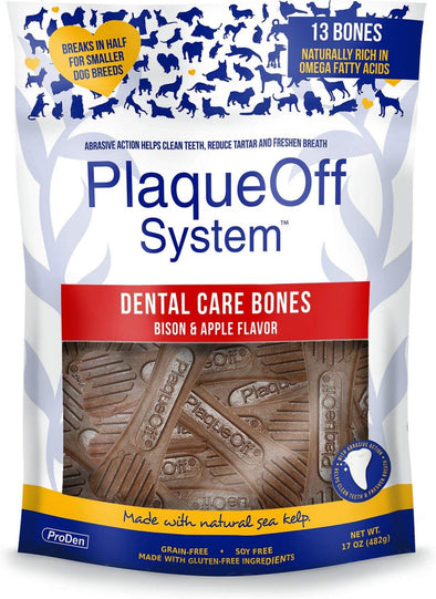 Proden PlaqueOff Bison & Apple Flavor Dental Dog Bones